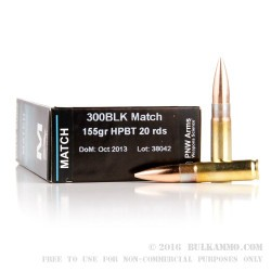 400 Rounds of .300 AAC Blackout Ammo by PNW Arms - 155gr HPBT