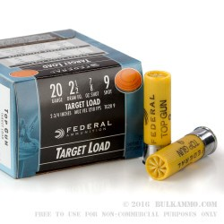 250 Rounds of 20ga Ammo by Federal - 7/8 ounce #9 shot