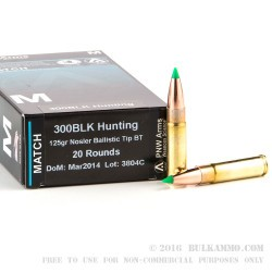 20 Rounds of .300 AAC Blackout Ammo by PNW Arms - 125gr Nosler Ballistic Tip BT