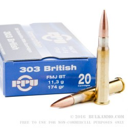 500 Rounds of .303 British Ammo by Prvi Partizan - 174gr FMJBT