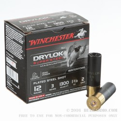 25 Rounds of 12ga Ammo by Winchester DryLok Super Steel - 1 3/8 ounce #2 Shot