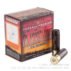 "25 Rounds of 12ga Ammo by Federal Blackcloud - 3"" 1 1/4 ounce BBB"