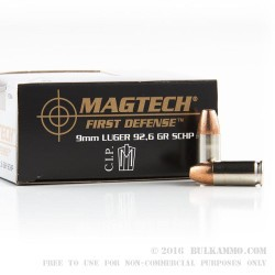 20 Rounds of 9mm Ammo by Magtech First Defense - 92.6gr SCHP