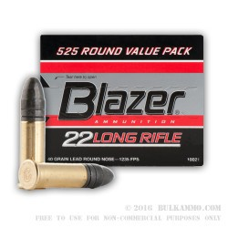 525 Rounds of .22 LR Ammo by CCI - 40gr LRN
