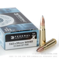 20 Rounds of 7.62x39mm Ammo by Federal - 123gr SP