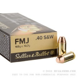 1000 Rounds of .40 S&W Ammo by Sellier & Bellot - 165gr FMJ