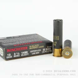 5 Rounds of 12ga Ammo by Winchester Double-X - 00 Buck