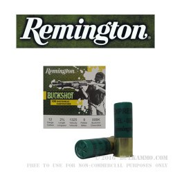100 Rounds of 12ga Ammo by Remington -  00 Buck