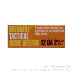 5 Rounds of 12ga Ammo by Brenneke Tactical Home Defense - 1 ounce Rifled Slug