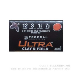 250 Rounds of 12ga Ammo by Federal Federal Ultra Clay & Field - 1-1/8 ounce #7 1/2 shot