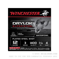 25 Rounds of 12ga Ammo by Winchester Drylok Super Steel Magnum - 1 1/4 ounce #4 shot