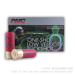 5 Rounds of Low Velocity 12ga Ammo by PMC -  00 Buck