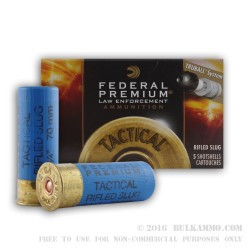 "50 Rounds of 12ga 2-3/4"" Ammo by Federal Premium Tactical LE - 1 ounce - Rifled Slug"