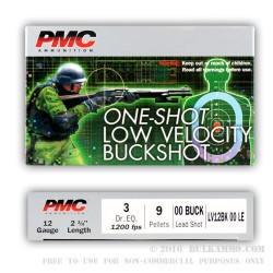 250 Rounds of 12ga LV LE Ammo by PMC -  00 Buck