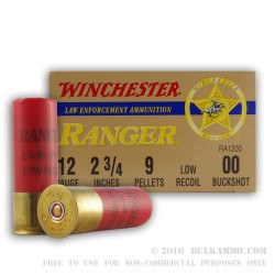 25 Rounds of 12ga Low Recoil Ammo by Winchester Ranger -  00 Buck