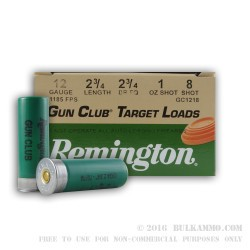 250 Rounds of 12ga Ammo by Remington - 1 ounce #8 shot
