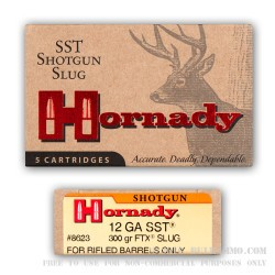 5 Rounds of 12ga Ammo by Hornady - 300 grain SST Sabot Slug