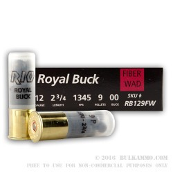 5 Rounds of 12ga Ammo by Rio -  00 Buck 9 Pellet - Fiber Wad