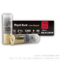 250 Rounds of 12ga Ammo by Rio Ammunition -  00 Buck 9 pellet - Fiber Wad - Low Recoil