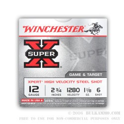 250 Rounds of 12ga Ammo by Winchester - 1 1/8 ounce #6 Shot (Steel)