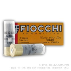 10 Rounds of 12ga Ammo by Fiocchi - 1 ounce Rifled Slug