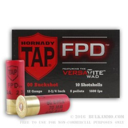 10 Rounds of 12ga TAP FPD Ammo by Hornady -  00 Buck