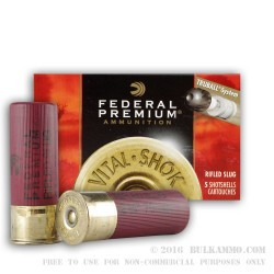 5 Rounds of 12ga Ammo by Federal - 1 ounce Rifled Slug