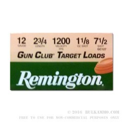 25 Rounds of 12ga Ammo by Remington - 1 1/8 ounce #7 1/2 shot