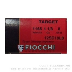 "25 Rounds of 12ga Ammo by Fiocchi - 2-3/4"" 1 1/8 ounce #8 shot"