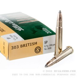 20 Rounds of .303 British Ammo by Sellier & Bellot - 150gr SP