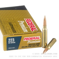 20 Rounds of .223 Ammo by Federal - 80gr HPBT