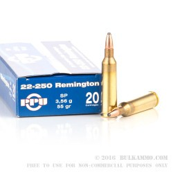 20 Rounds of .22-250 Rem Ammo by Prvi Partizan - 55gr SP