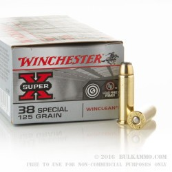 50 Rounds of .38 Special Ammo by Winchester - 125gr JSP