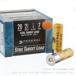 250 Rounds of 20ga Ammo by Federal - 7/8 ounce #7 Shot (Steel)