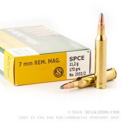 20 Rounds of 7 mm Rem Mag Ammo by Sellier & Bellot - 173gr SPCE