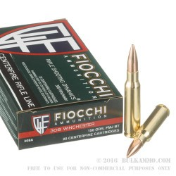 180 Rounds of .308 Win Ammo by Fiocchi - 150gr FMJBT - Plano Can