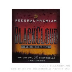 """250 Rounds of 20ga Ammo by Federal Blackcloud - 3"""" 1 ounce #4 shot"""