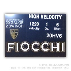 25 Rounds of 20ga Ammo by Fiocchi - High Velocity - 1 ounce #6 shot
