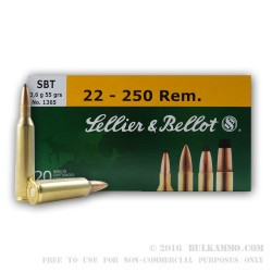 20 Rounds of .22-250 Rem Ammo by Sellier & Bellot - 55gr Sierra Gameking SBT