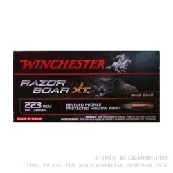 20 Rounds of .223 Ammo by Winchester Razor Boar XT - 64gr JHP