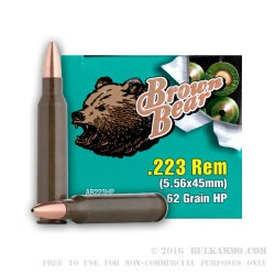 500  Rounds of .223 Ammo by Brown Bear - 62gr HP