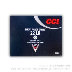 50 Rounds of .22 LR Ammo by CCI Short Range Green - 26gr HP Lead Free