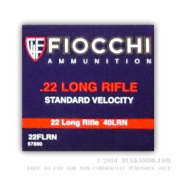 50 Rounds of .22 LR Ammo by Fiocchi - 40gr LRN