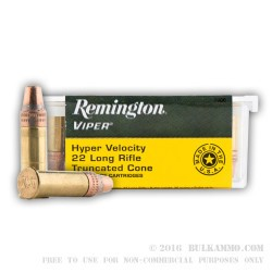 100 Rounds of .22 LR Ammo by Remington Viper - 36gr TC-SB