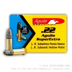 50 Rounds of .22 LR Ammo by Aguila - Super Extra - 38gr LHP Subsonic
