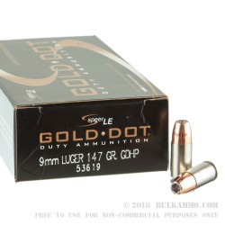 1000 Rounds of 9mm Ammo by Speer Gold Dot LE - 147gr JHP