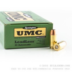 50 Rounds of .45 ACP Ammo by Remington - 230gr FNEB Leadless