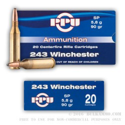 20 Rounds of .243 Win Ammo by Prvi Partizan - 90gr SP