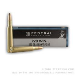 20 Rounds of .270 Win Ammo by Federal - 130gr SP