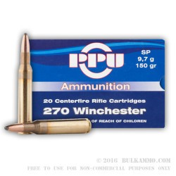 500  Rounds of .270 Win Ammo by Prvi Partizan - 150gr SP
